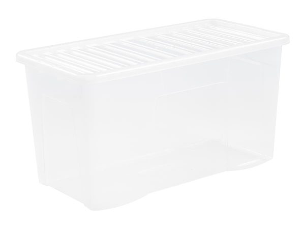 110Ltr Crystal Plastic Storage Box & Lid – 90pcs Bulk Deal