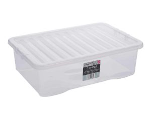 32Ltr Crystal Plastic Storage Box & Lid – 200pcs Bulk Deal