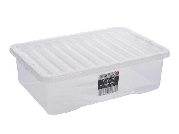 32Ltr Crystal Plastic Storage Box & Lid – 200pcs Bulk Deal