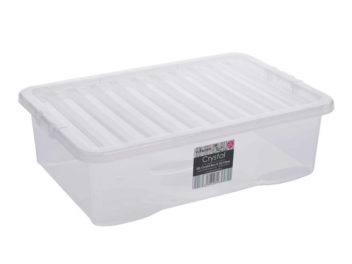 32Ltr Crystal Plastic Storage Box & Lid