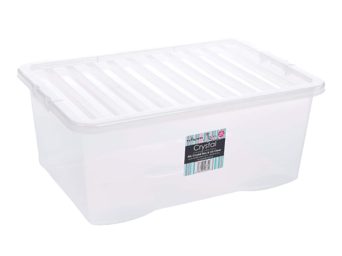 45Ltr Crystal Plastic Storage Box & Lid