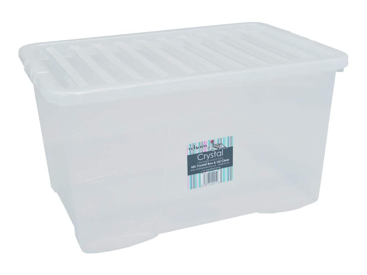 60Ltr Crystal Plastic Storage Box & Lid