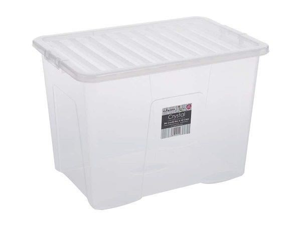 80Ltr Crystal Plastic Storage Box & Lid – 150pcs Bulk Deal