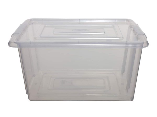 Whitefurze Medium Plastic Storage Box & Lid – 100pcs Bulk Deal
