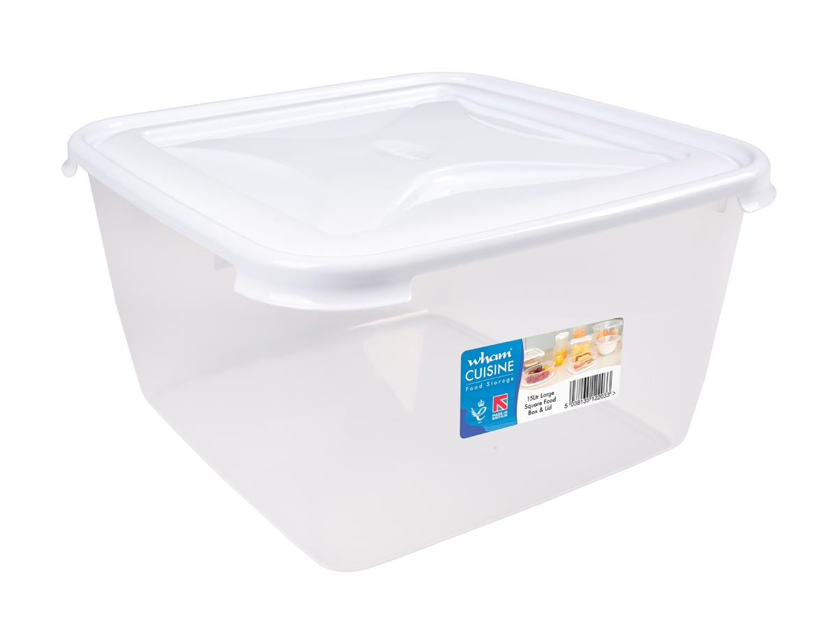 15Ltr Cuisine Square Plastic Food Storage Container