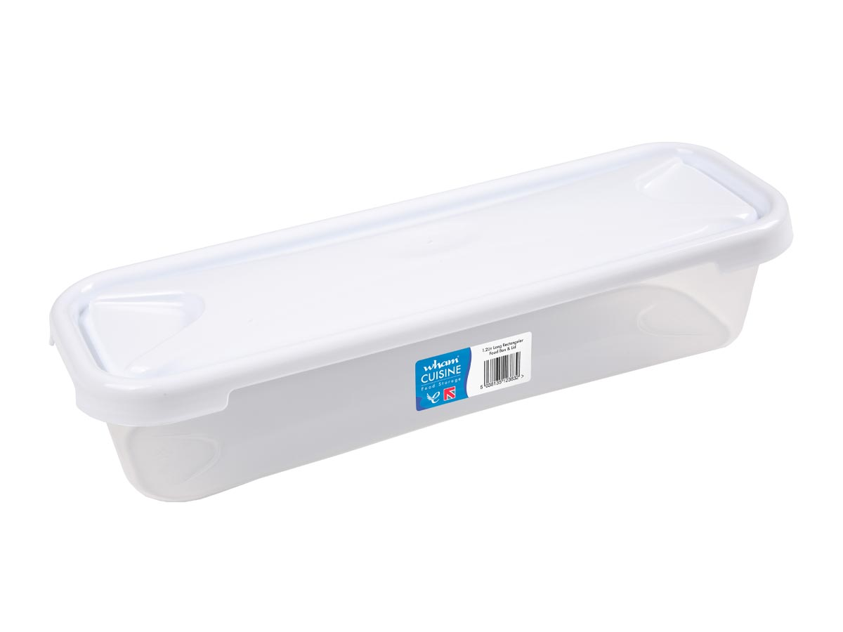 1.2Ltr Cuisine Long Rectangular (Bacon Box) Plastic Food Storage Container