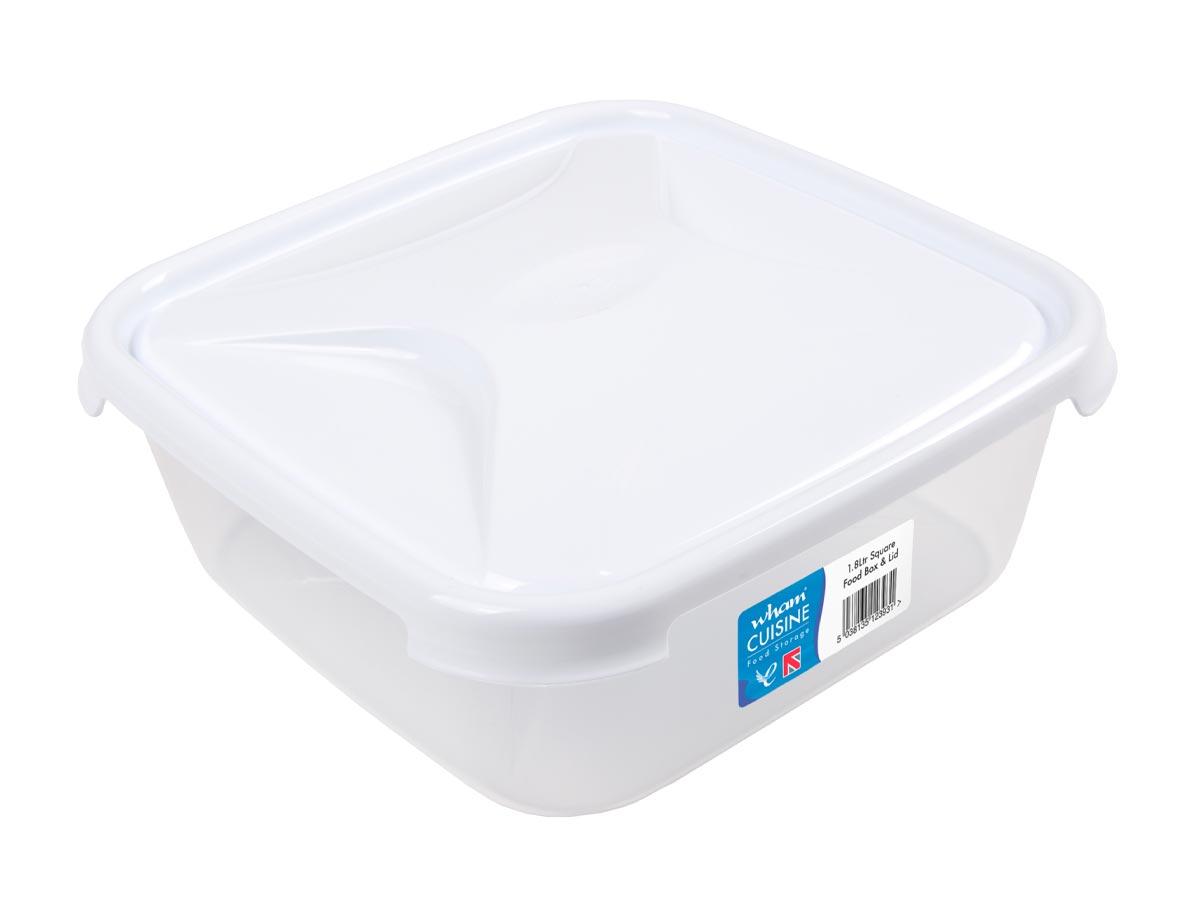 1.8Ltr Cuisine Square Plastic Food Storage Container