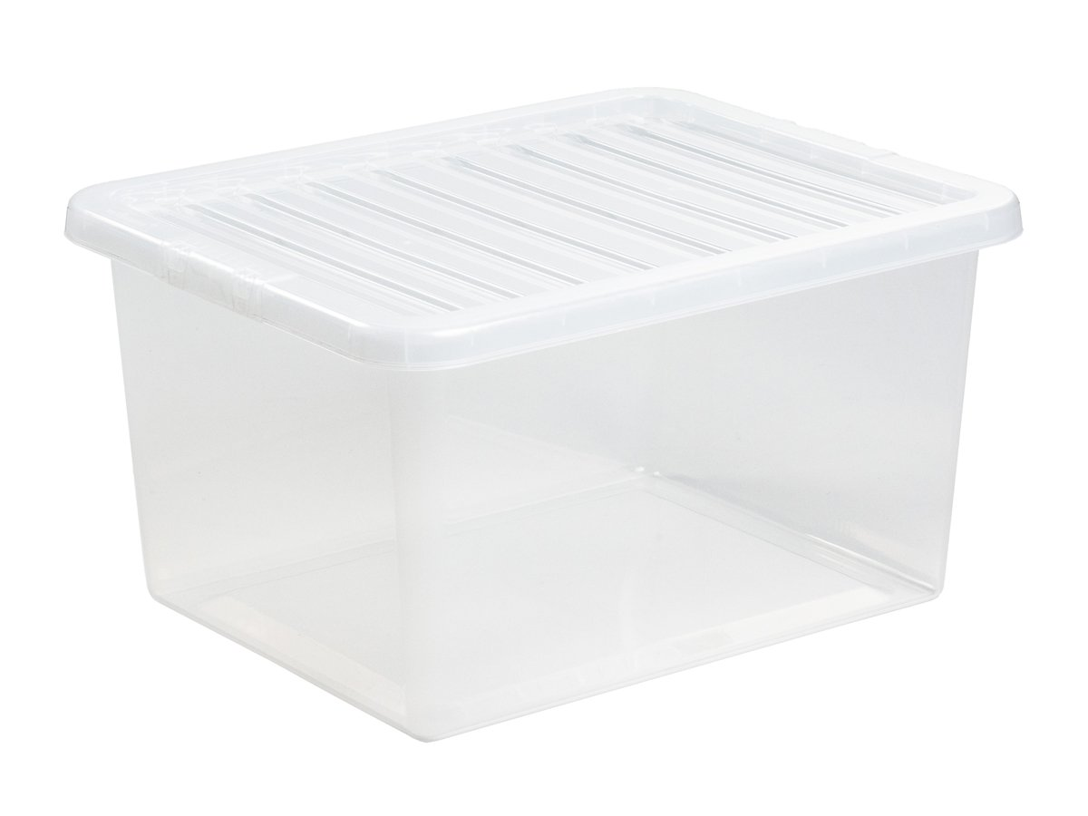 37Ltr Crystal Plastic Storage Box & Lid